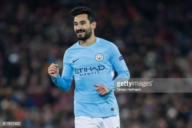 Ilkay Gundogan of Manchester City celebrates his team's fourth goal during the UEFA Champions League Round of 16 First Leg match between FC Basel and...