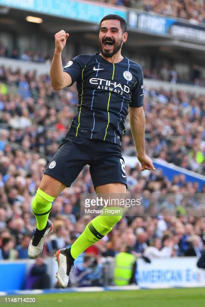 Ilkay Gundogan of Manchester City celebrates scoring a goal to make it 41 during the Premier League match between Brighton Hove Albion and Manchester...