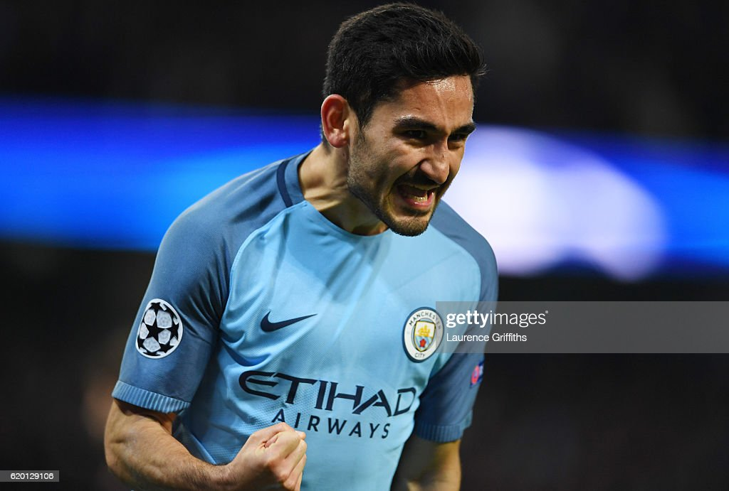 Ilkay Gundogan of Manchester City celebrates scoring his sides first goal during the UEFA Champions League Group C match between Manchester City FC and FC Barcelona at Etihad Stadium on November 1, 2016 in Manchester, England.