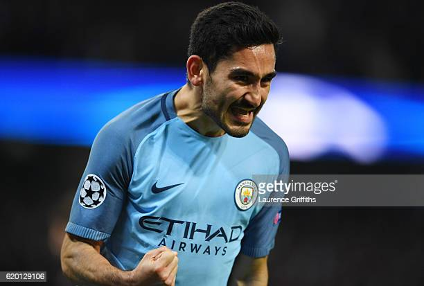Ilkay Gundogan of Manchester City celebrates scoring his sides first goal during the UEFA Champions League Group C match between Manchester City FC...