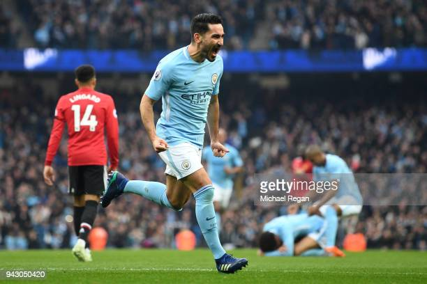 Ilkay Gundogan of Manchester City celebrates scoring his side's second goal during the Premier League match between Manchester City and Manchester...