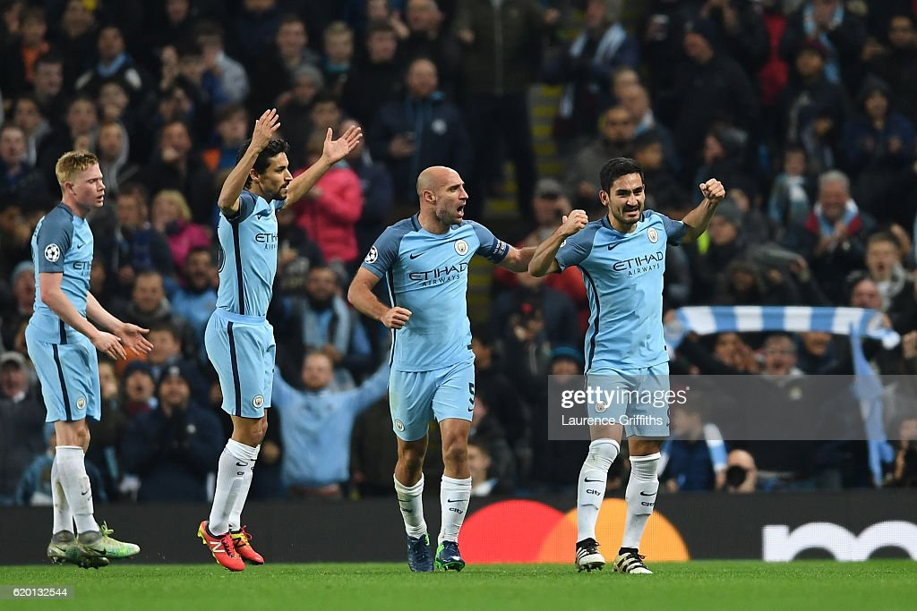 Ilkay Gundogan of Manchester City (R) celebrates scoring his sides third goal with his team mates during the UEFA Champions League Group C match between Manchester City FC and FC Barcelona at Etihad Stadium on November 1, 2016 in Manchester, England.