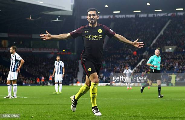Ilkay Gundogan of Manchester City celebrates scoring his team's third goal during the Premier League match between West Bromwich Albion and...