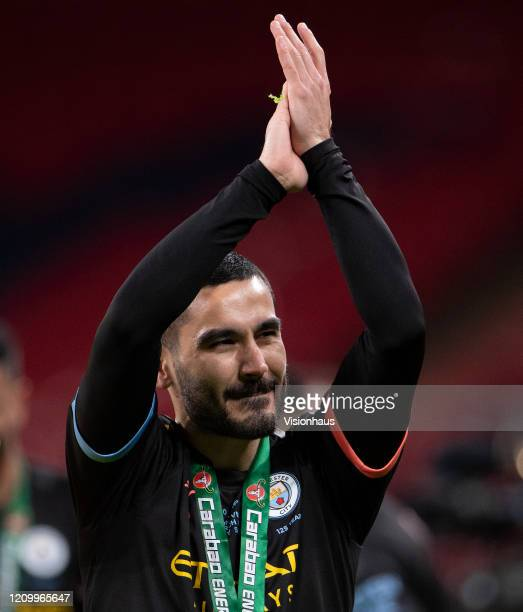 Ilkay Gundogan of Manchester City celebrates victory after the Carabao Cup Final between Aston Villa and Manchester City at Wembley Stadium on March...