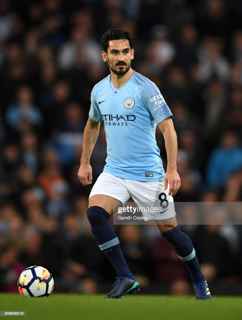 Ilkay Gundogan of Manchester City during the Premier League match between Manchester City and Brighton and Hove Albion at Etihad Stadium on May 9, 2018 in Manchester, England.