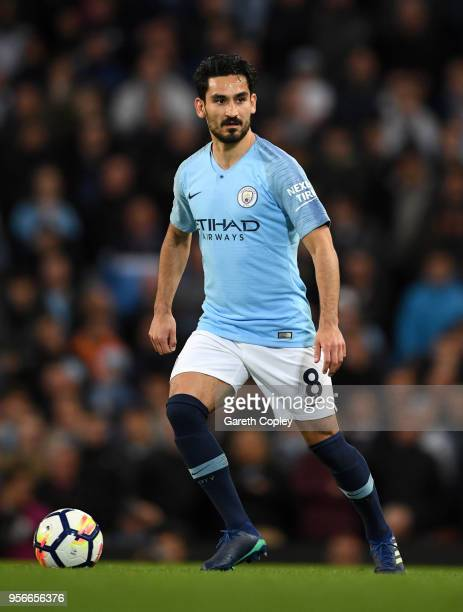 Ilkay Gundogan of Manchester City during the Premier League match between Manchester City and Brighton and Hove Albion at Etihad Stadium on May 9...