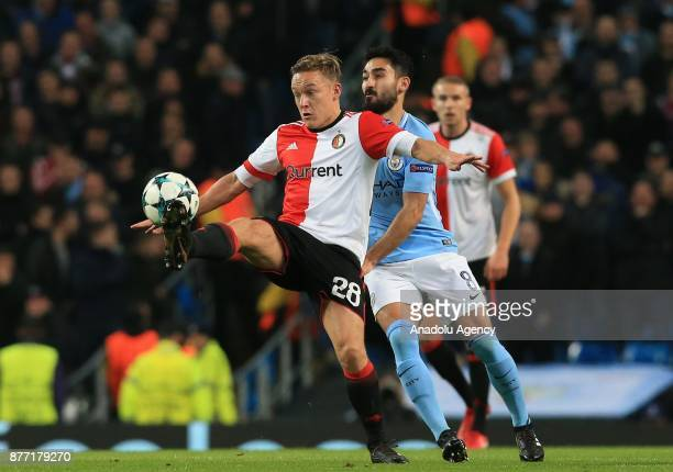 Ilkay Gundogan of Manchester City in action against Jens Toornstra of Feyenoord during the UEFA Champions League Group F soccer match between...