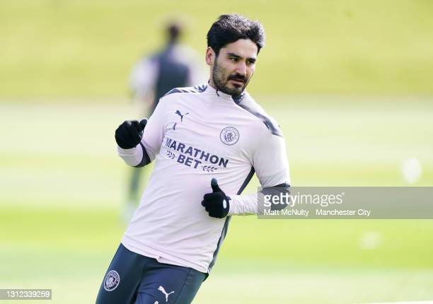 Ilkay Gundogan of Manchester City in action during a training session at Manchester City Football Academy on April 13, 2021 in Manchester, England.