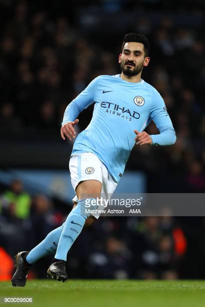 Ilkay Gundogan of Manchester City in action during the Carabao Cup SemiFinal first leg match between Manchester City and Bristol City at Etihad...