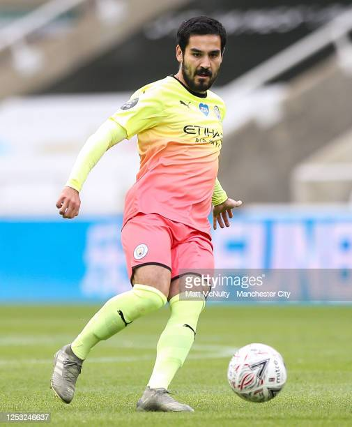 Ilkay Gundogan of Manchester City in action during the FA Cup Quarter Final match between Newcastle United and Manchester City at St James Park on...