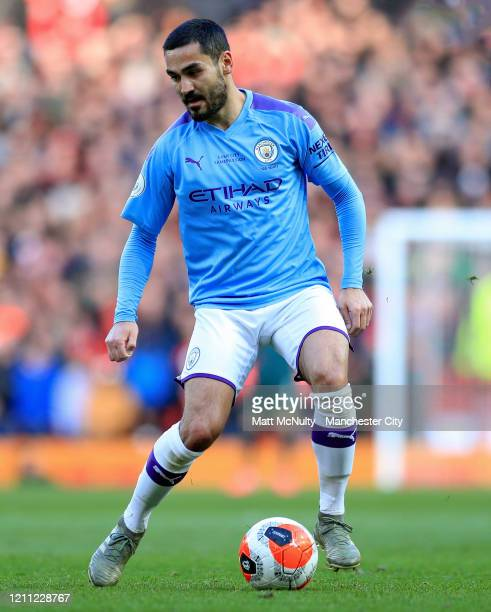 Ilkay Gundogan of Manchester City in action during the Premier League match between Manchester United and Manchester City at Old Trafford on March 08...