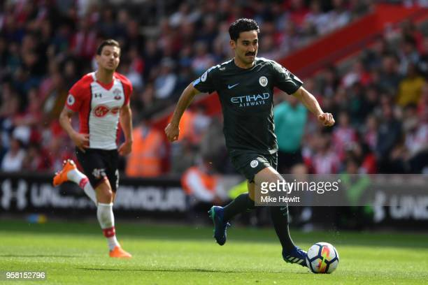 Ilkay Gundogan of Manchester City in action during the Premier League match between Southampton and Manchester City at St Mary's Stadium on May 13...