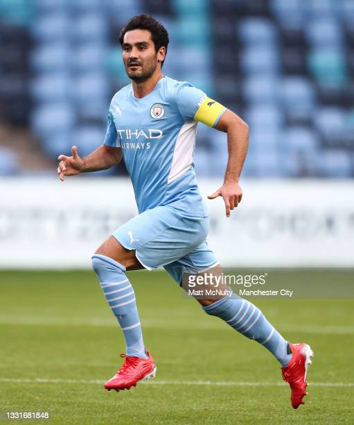 Ilkay Gundogan of Manchester City in action during the pre-season friendly match between Manchester CIty and Barnsley at Manchester City Football...