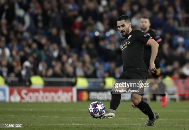 Ilkay Gundogan of Manchester City in action during the UEFA Champions League round of 16 first leg soccer match between Real Madrid and Manchester...