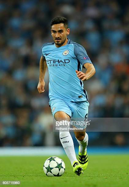 Ilkay Gundogan of Manchester City in action during the UEFA Champions League match between Manchester City FC and VfL Borussia Moenchengladbach at...