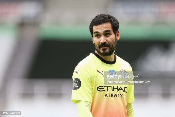 Ilkay Gundogan of Manchester City looks on during the FA Cup Quarter Final match between Newcastle United and Manchester City at St James Park on...