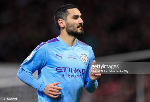 Ilkay Gundogan of Manchester City looks on during the Premier League match between Manchester United and Manchester City at Old Trafford on March 08...