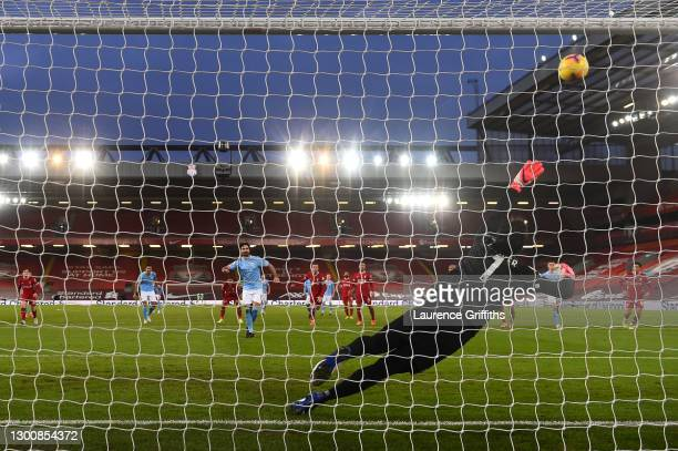 Ilkay Gundogan of Manchester City misses a penalty during the Premier League match between Liverpool and Manchester City at Anfield on February 07,...