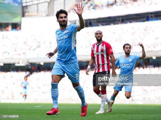 Ilkay Gundogan of Manchester City reacts during the Premier League match between Manchester City and Southampton at Etihad Stadium on September 18,...