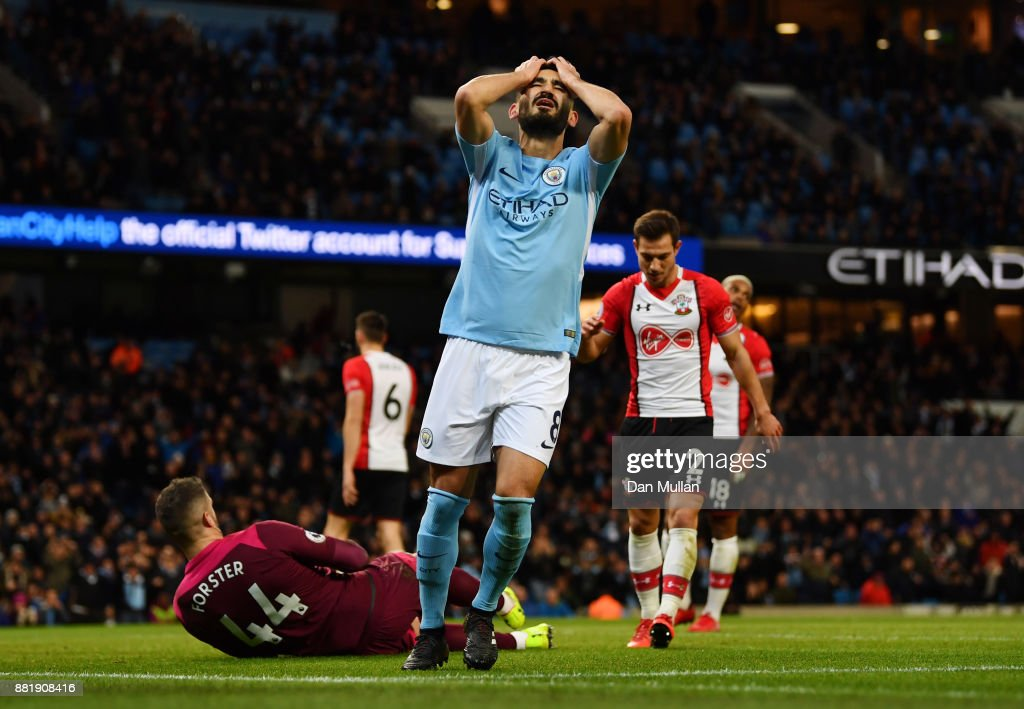 Ilkay Gundogan of Manchester City reacts during the Premier League match between Manchester City and Southampton at Etihad Stadium on November 29, 2017 in Manchester, England.