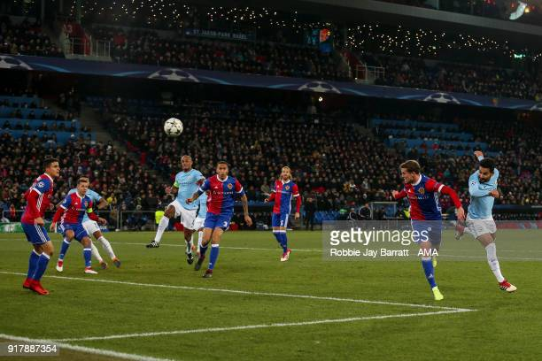 Ilkay Gundogan of Manchester City scores a goal to make it 01 during the UEFA Champions League Round of 16 First Leg match between FC Basel and...