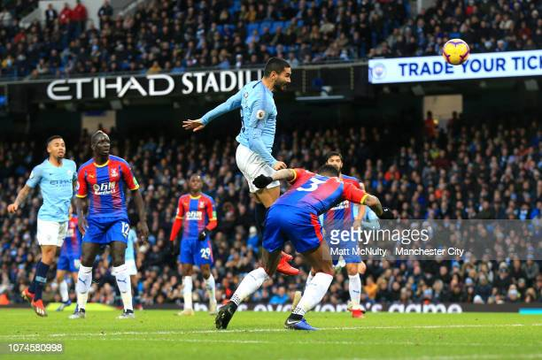 Ilkay Gundogan of Manchester City scores his team's first goal during the Premier League match between Manchester City and Crystal Palace at Etihad...