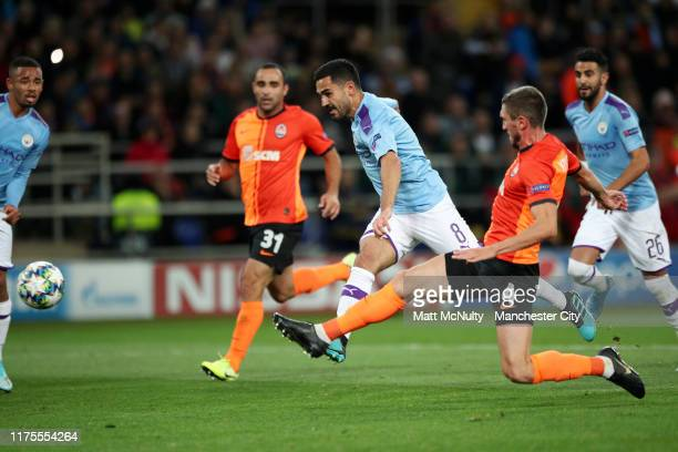 Ilkay Gundogan of Manchester City scores his team's second goal during the UEFA Champions League group C match between Shakhtar Donetsk and...