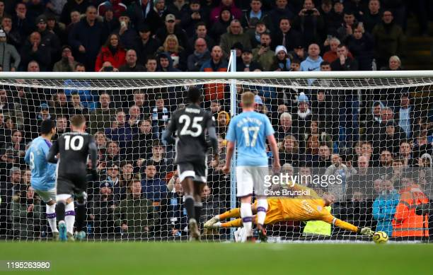 Ilkay Gundogan of Manchester City scores his team's second goal during the Premier League match between Manchester City and Leicester City at Etihad...