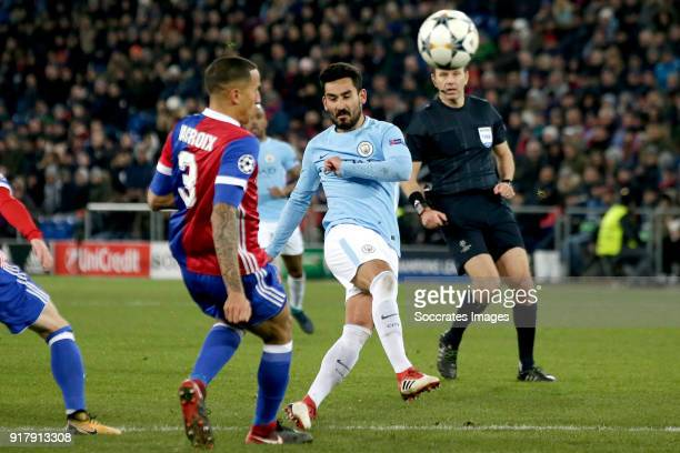 Ilkay Gundogan of Manchester City scores the fourth goal to make it 04 during the UEFA Champions League match between Fc Basel v Manchester City at...
