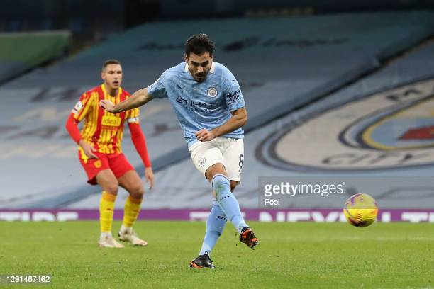 Ilkay Gundogan of Manchester City scores their sides first goal during the Premier League match between Manchester City and West Bromwich Albion at...