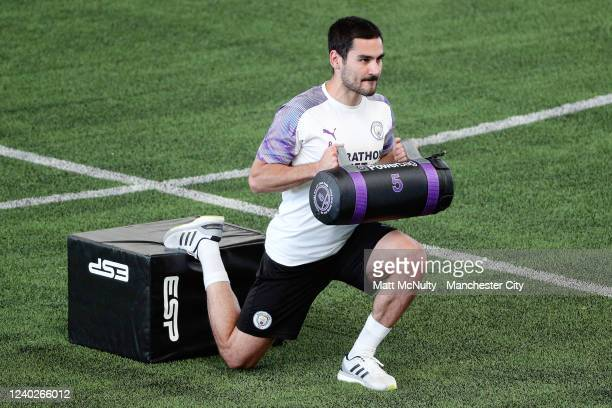 Ilkay Gundogan of Manchester City warms up during the training session at Manchester City Football Academy on June 01 2020 in Manchester England