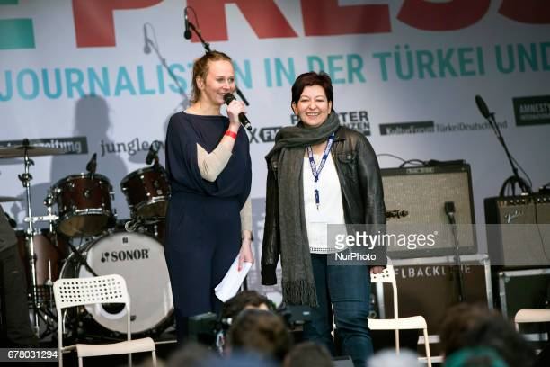 Ilkay Yucel sister of jailed journalist Deniz Yucel speaks during a concert for the International Press Freedom Day in front of the Brandenburg Gate...