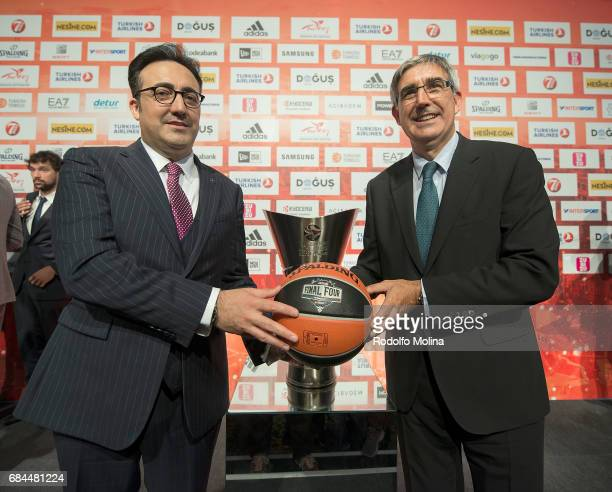 Ilker Ayci Turkish Airlines Chairman and Jordi Bertomeu President and CEO of Euroleague Basketball pose during the Turkish Airlines EuroLeague Final...