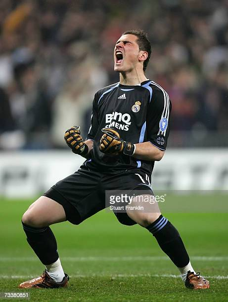 Ilker Casillas of Madrid celebrates the first goal during the UEFA Champions League round of 16 first leg match between Real Madrid and Bayern Munich...