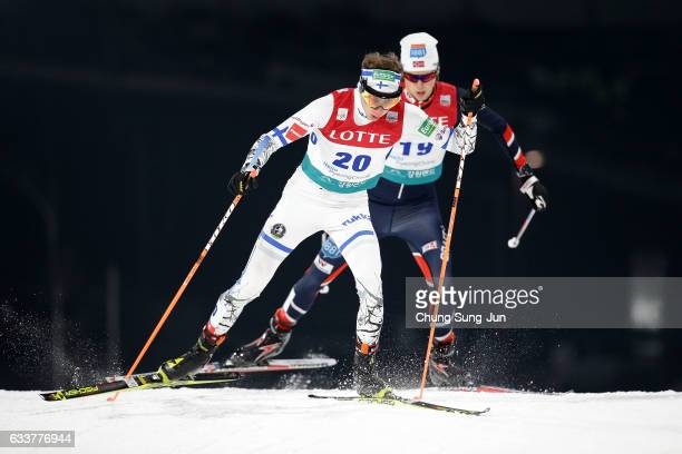 Ilkka Herola of Finland competes in the Individual Gundersen 10km Large Hill during the FIS Nordic Combined World Cup presented by Viessmann Test...