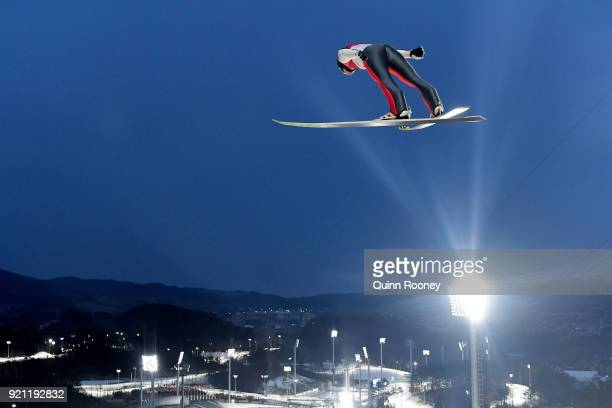 Ilkka Herola of Finland jumps during the Nordic Combined Individual Gundersen Large Hill Ski Jumping trial round on day eleven of the PyeongChang...