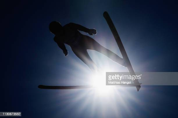 Ilkka Herola of Finland jumps during the ski jumping training for the Nordic Combined ahead of the FIS Nordic World Ski Championships on February 19...