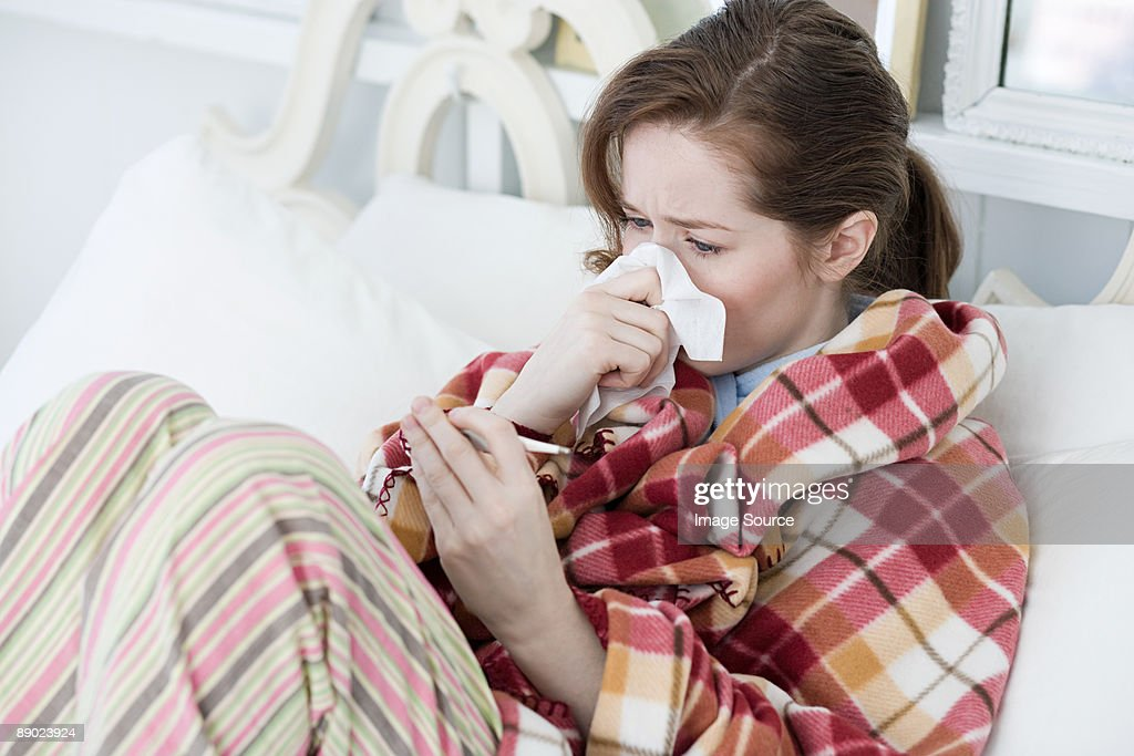 Ill young woman : Stock Photo