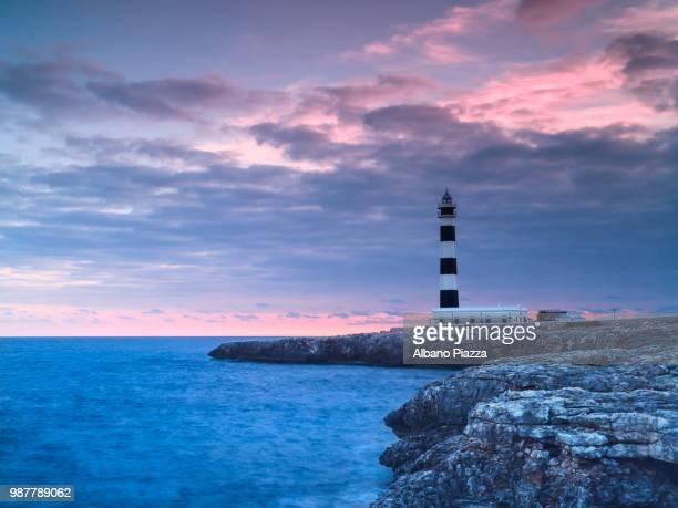 Illa de lAire Lighthouse at dusk, Minorca, Spain