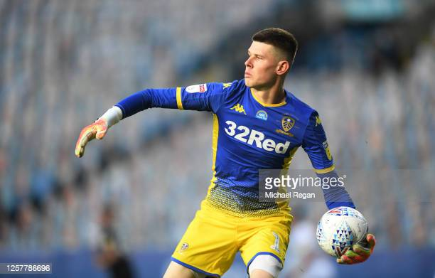 Illan Meslier of Leeds looks on during the Sky Bet Championship match between Leeds United and Charlton Athletic at Elland Road on July 22, 2020 in...