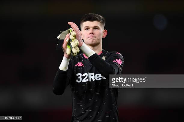 Illan Meslier of Leeds United applauds the travelling fans following his side's defeat during the FA Cup Third Round match between Arsenal FC and...