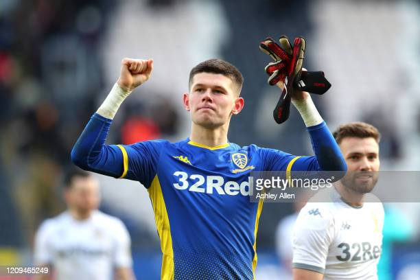 Illan Meslier of Leeds United celebrates victory during the Sky Bet Championship match between Hull City and Leeds United at KCOM Stadium on February...