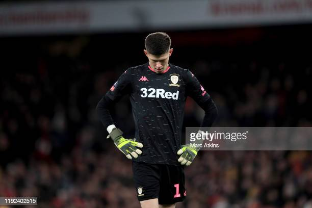 Illan Meslier of Leeds United during the FA Cup Third Round match between Arsenal and Leeds United at Emirates Stadium on January 6 2020 in London...
