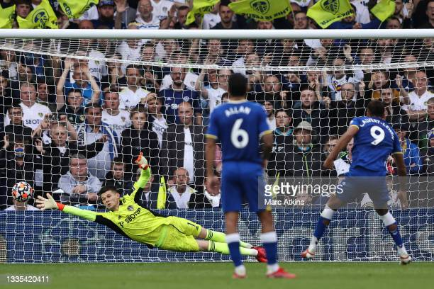 Illan Meslier of Leeds United fails to save the Everton first goal scored by Dominic Calvert-Lewin from the penalty spot during the Premier League...
