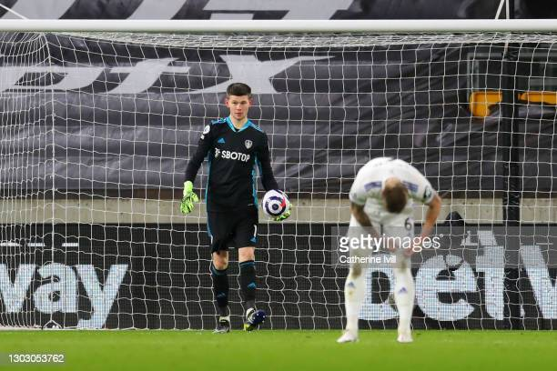Illan Meslier of Leeds United looks dejected after scoring an own goal for Wolverhampton Wanderers first goal during the Premier League match between...