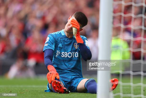 Illan Meslier of Leeds United reacts after the Manchester United fifth goal scored by Fred during the Premier League match between Manchester United...