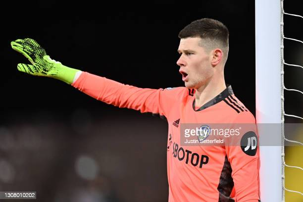 Illan Meslier of Leeds United reacts during the Premier League match between Fulham and Leeds United at Craven Cottage on March 19, 2021 in London,...