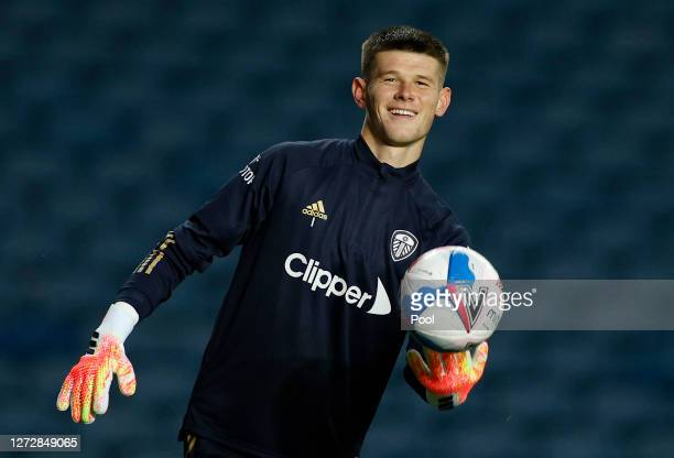 Illan Meslier of Leeds United warms up prior to the Carabao Cup Second Round match between Leeds United and Hull City at Elland Road on September 16,...