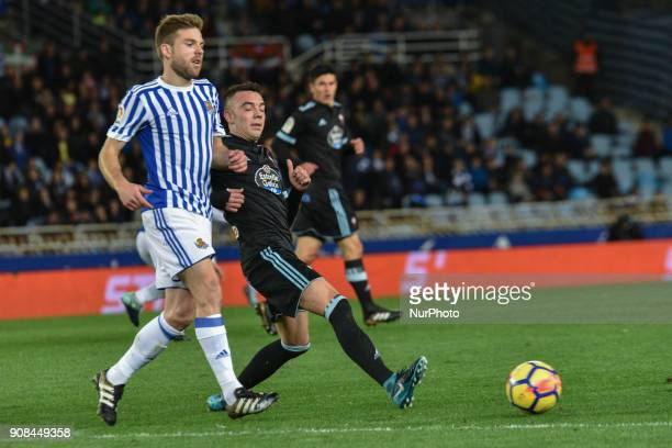 Illarramendi of Real Sociedad duels for the ball with Iago Aspas of Celta during the Spanish league football match between Real Sociedad and Celta at...