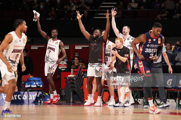 Illawarra Hawks players celebrate during the round 19 NBL match between Adelaide 36ers and Illawarra Hawks at Adelaide Entertainment Centre, on May...
